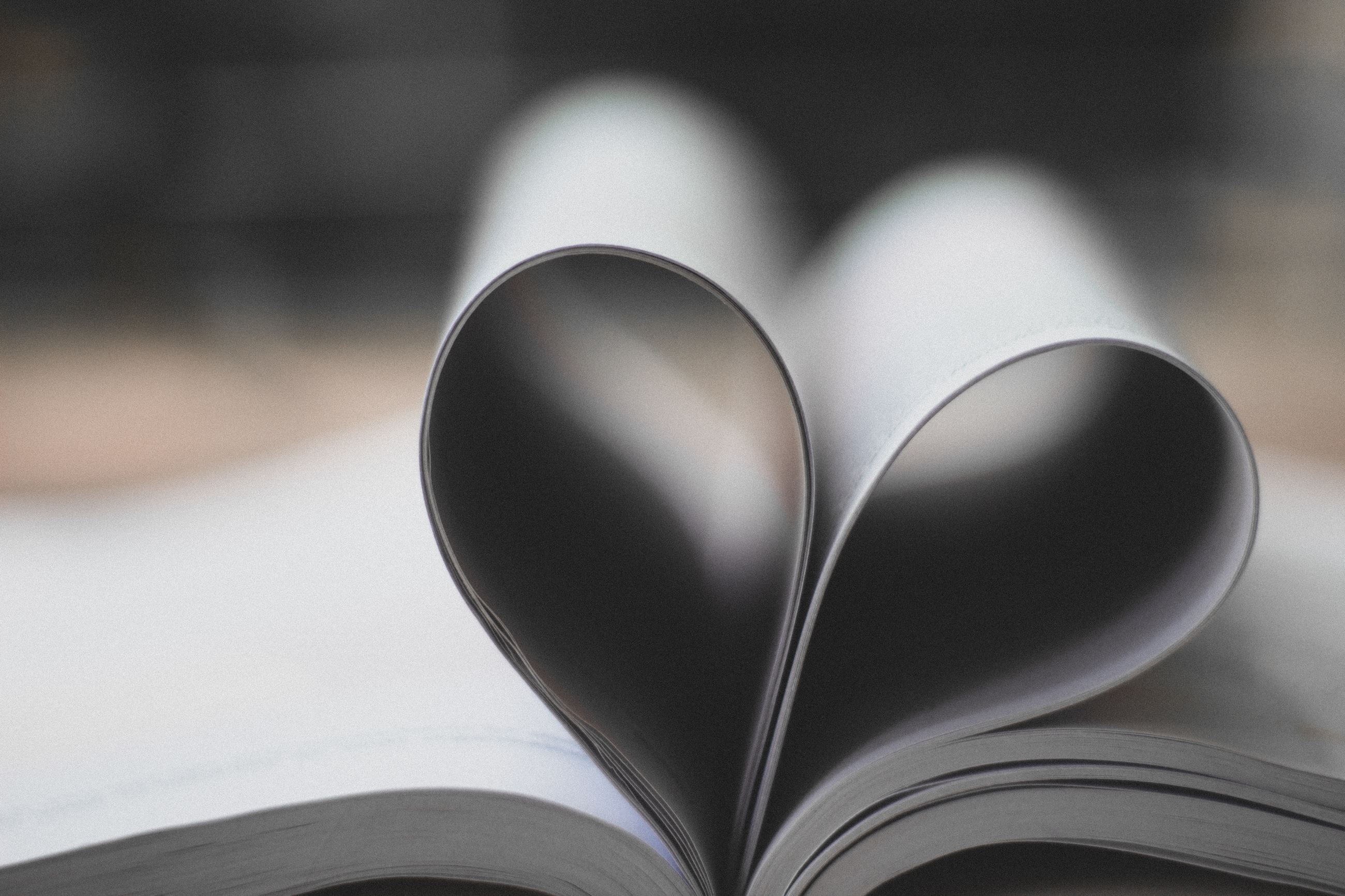 book pages in a heart