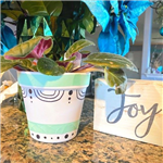 Flower pot decorated with washi tape
