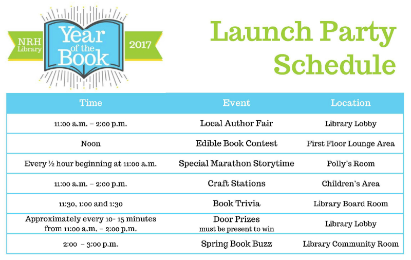 launch party, free, library, reading, year of the book,